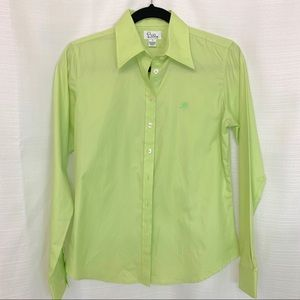 Lily Pulitzer NWOT 4 Button Up Green Oxford Blouse